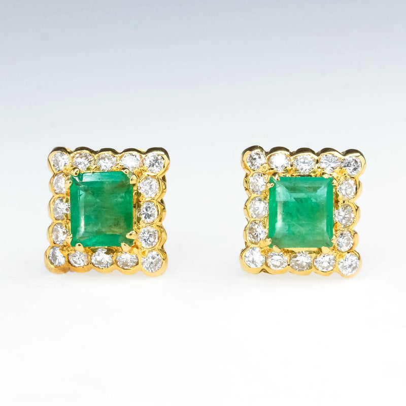 Natural Emerald and Diamond Halo Stud Earrings in 14K Yellow Gold Earrings Oaks Jewelry