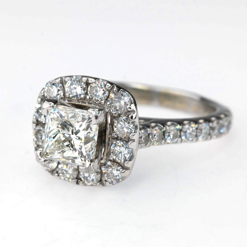 Neil Lane LEO 1.01ct Princess Diamond Halo Engagement Ring in 14K White Gold Engagement Rings Neil Lane