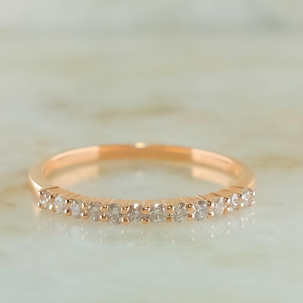 New 10K Rose Gold 0.20ctw I1/I Diamond Accents Wedding Band Ring Size 7 Wedding Rings Oaks Jewelry