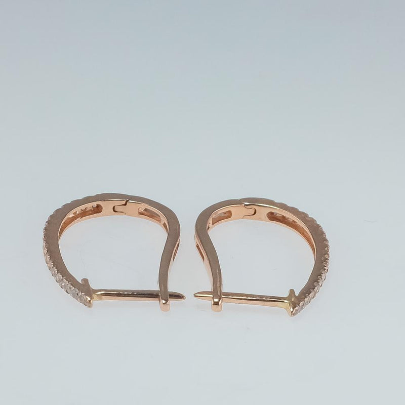 New 10K Rose Gold 0.25ctw I1-I2/H-I Diamond Accents Elongated Hoop Earring Earrings Oaks Jewelry