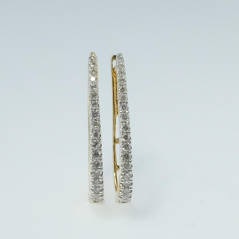 New 10K Yellow Gold 0.25ctw I1-I2/H-I Diamond Accents Elongated Hoop Earrings Earrings Oaks Jewelry