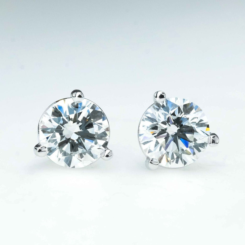 New 1.31ctw Round Diamond Solitaire Martini Stud Earrings in 14K White Gold Earrings Oaks Jewelry
