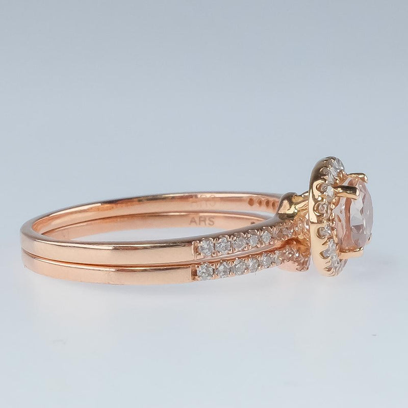 New 14K Rose Gold 1.00ct Morganite & Diamond Accented Halo East West Bridal Set Bridal Sets Oaks Jewelry