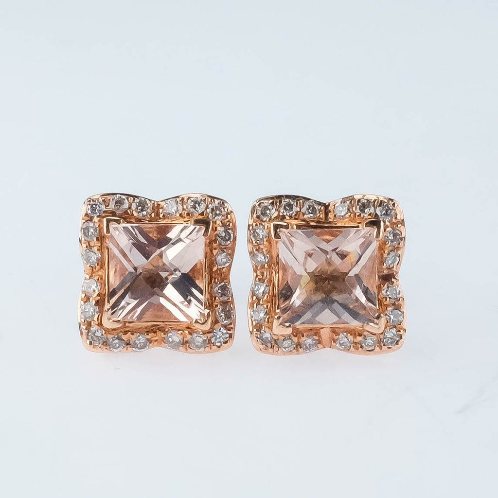 NEW 14K Rose Gold 1.40ctw Morganite & Diamond Accented Halo Stud Post Earrings Earrings Oaks Jewelry