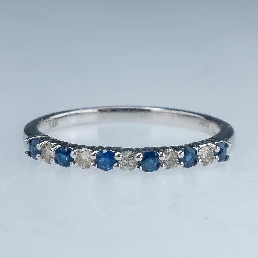 NEW 14K White Gold 0.25ctw Diamond & Sapphire Stackable Ring - Size 7 Gemstone Rings Oaks Jewelry