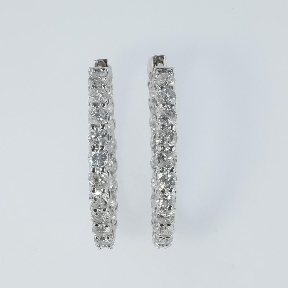 New 14K White Gold 3.98ctw I1/I Diamond Accents Inside Out Hoop Earrings Earrings Oaks Jewelry