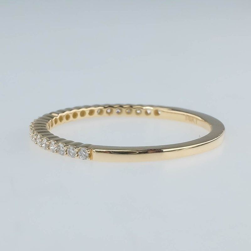 New 14K Yellow Gold 0.20ctw Diamond Accented Wedding Band Size 6.5 Wedding Rings Oaks Jewelry