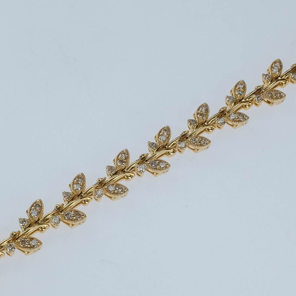 "New 14K Yellow Gold 2.00ctw Diamond Accented Leaf Link 7"" Tennis Bracelet Bracelets Oaks Jewelry"