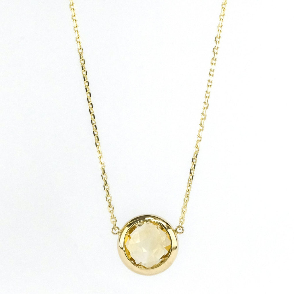 "New 14K Yellow Gold 2.43ct Bezel Set Citrine Fixed Pendant on 16"" Chain Necklaces Oaks Jewelry"