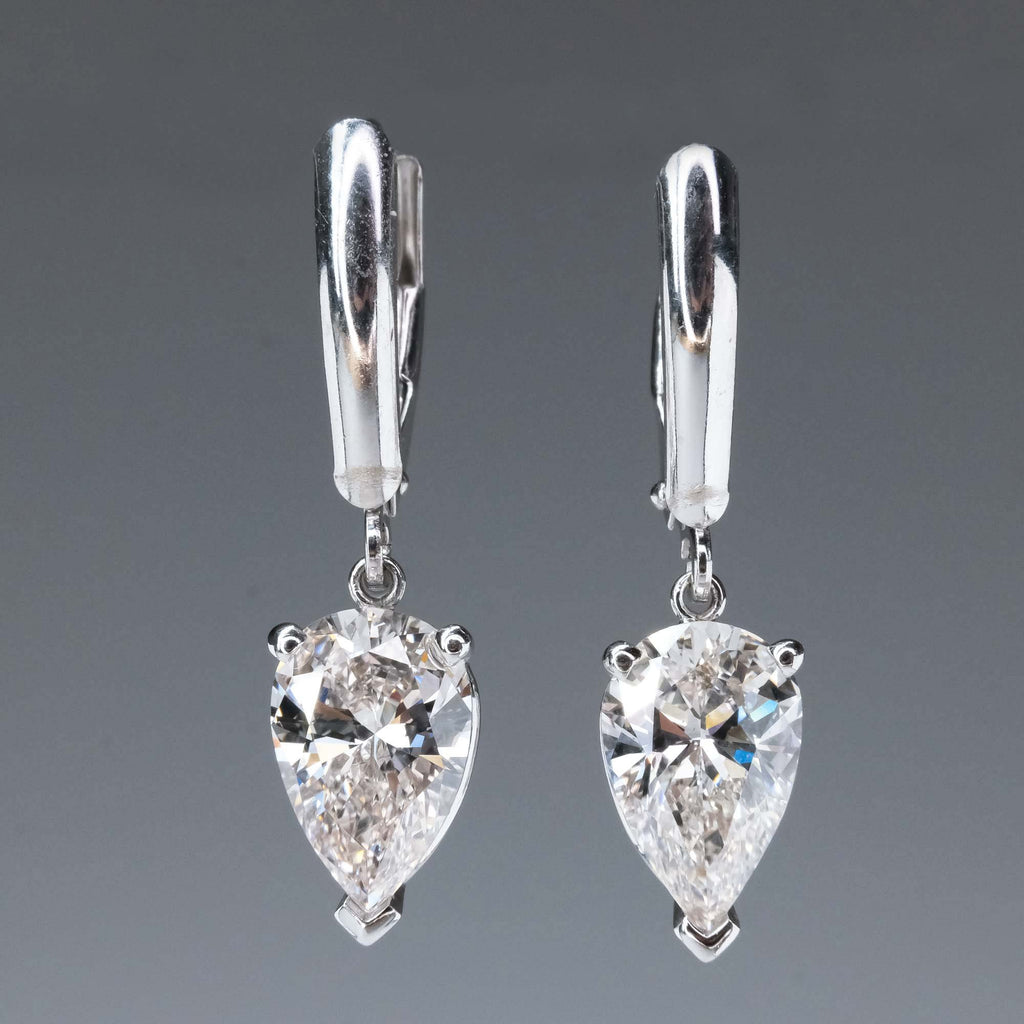 New 3.07ctw GIA Pear Diamond Solitaire Dangle Earrings in 14K White Gold Earrings Oaks Jewelry