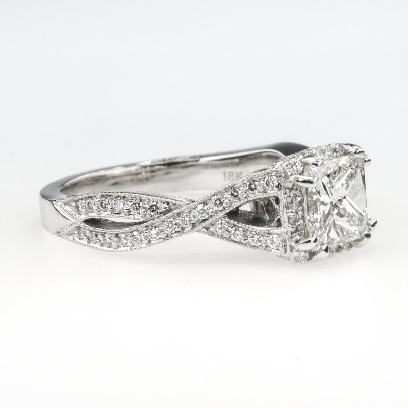 NEW Tacori 18K White Gold GIA 1.30ct Princess SI1/G Diamond Halo Engagement Ring Engagement Rings Tacori