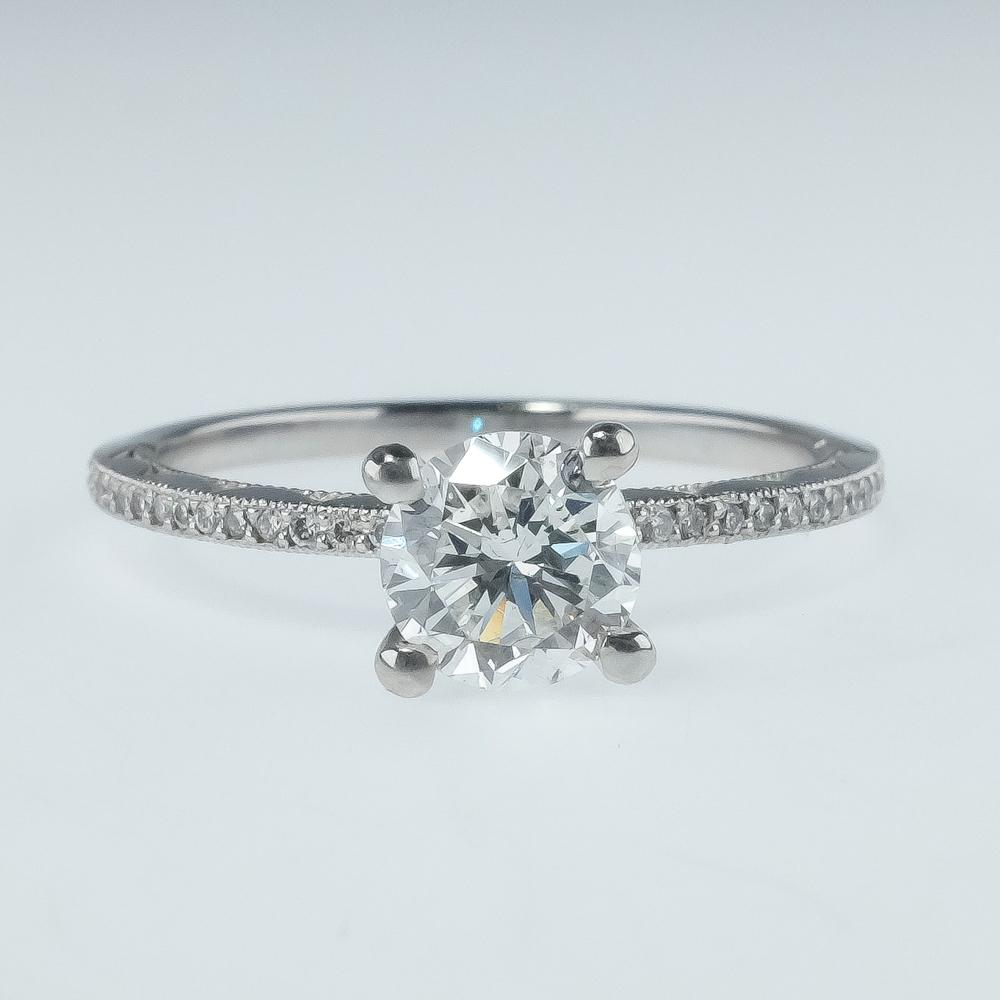 NEW Tacori Platinum GIA 0.82ct Round Diamond SI1/G Side Accented Engagement Ring Engagement Rings Tacori