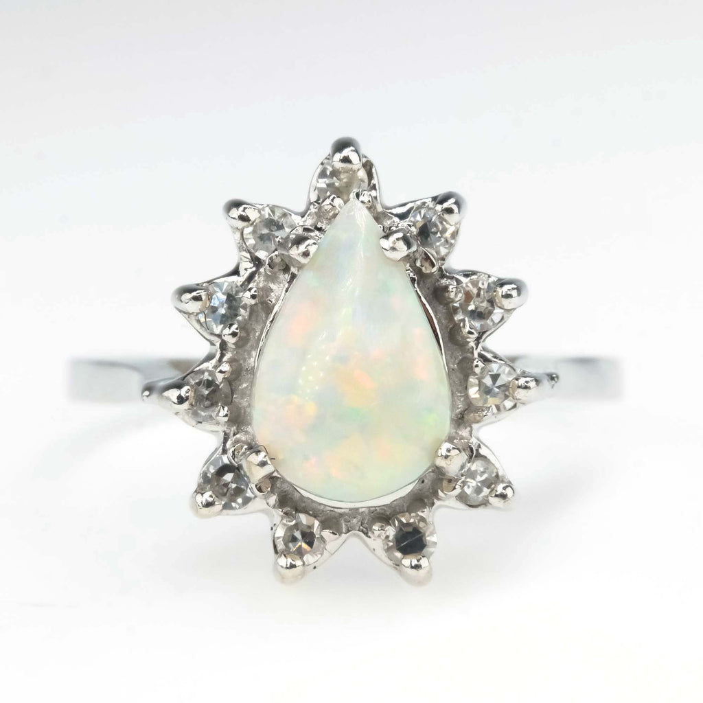 Opal and Diamond Halo Ring in 14K White Gold Gemstone Rings Oaks Jewelry