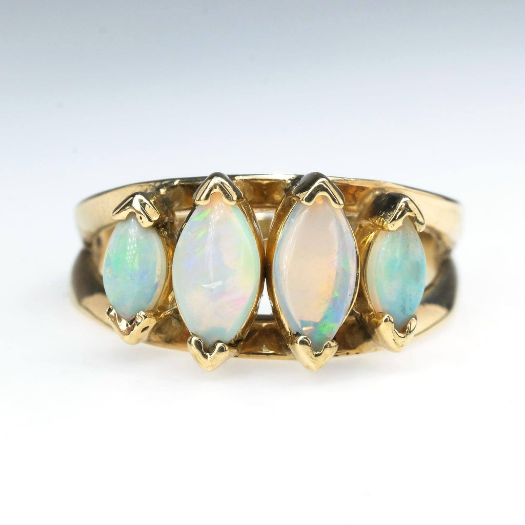 Opal Multi Stone Ring in 10K Yellow Gold Size 7.5 Gemstone Rings Oaks Jewelry