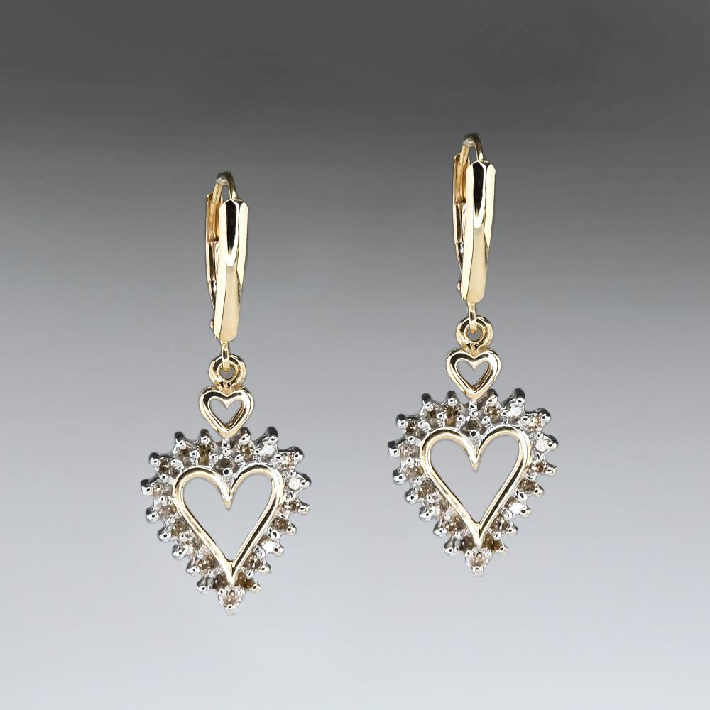 Open Heart Diamond Dangle Earrings in 10K Yellow Gold Earrings Oaks Jewelry