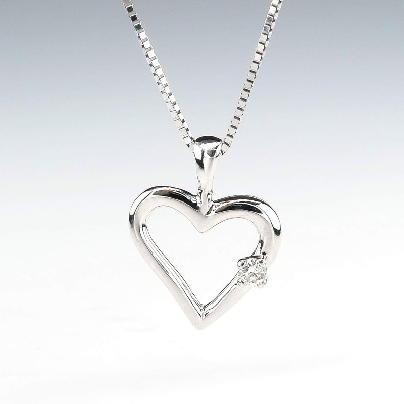 "Open Heart Pendant with Diamond Accent 16"" Necklace in 14K White Gold Pendants with Chains Oaks Jewelry"