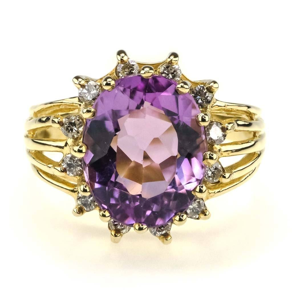 Oval Amethyst & Diamond Halo Ring 3.00ct in 14K Yellow Gold Gemstone Rings Oaks Jewelry