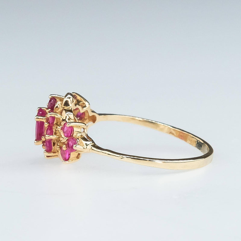 Oval and Round Ruby Cluster Ring in 10K Yellow Gold Gemstone Rings Oaks Jewelry