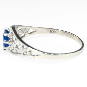 Oval Blue Quartz Floral Motif Ring in 10K White Gold Gemstone Rings Oaks Jewelry