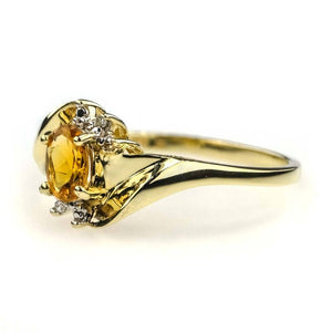 Oval Citrine and Diamond Ring in 10K Yellow Gold Gemstone Rings Oaks Jewelry