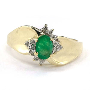 Oval Emerald and Diamond Ring in 10K Yellow Gold Gemstone Rings Oaks Jewelry