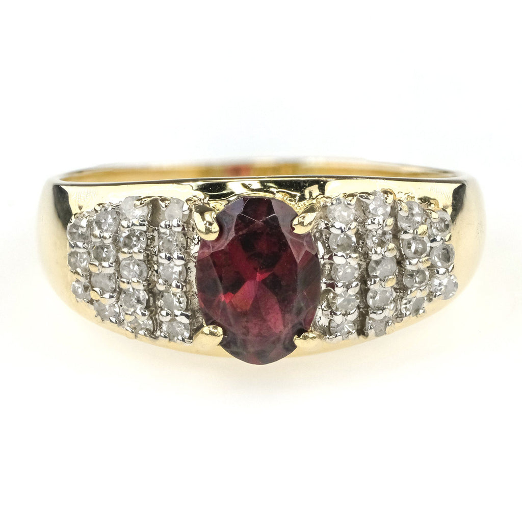 Oval Garnet & Diamond Pave Ring in 14K Yellow Gold Gemstone Rings Oaks Jewelry
