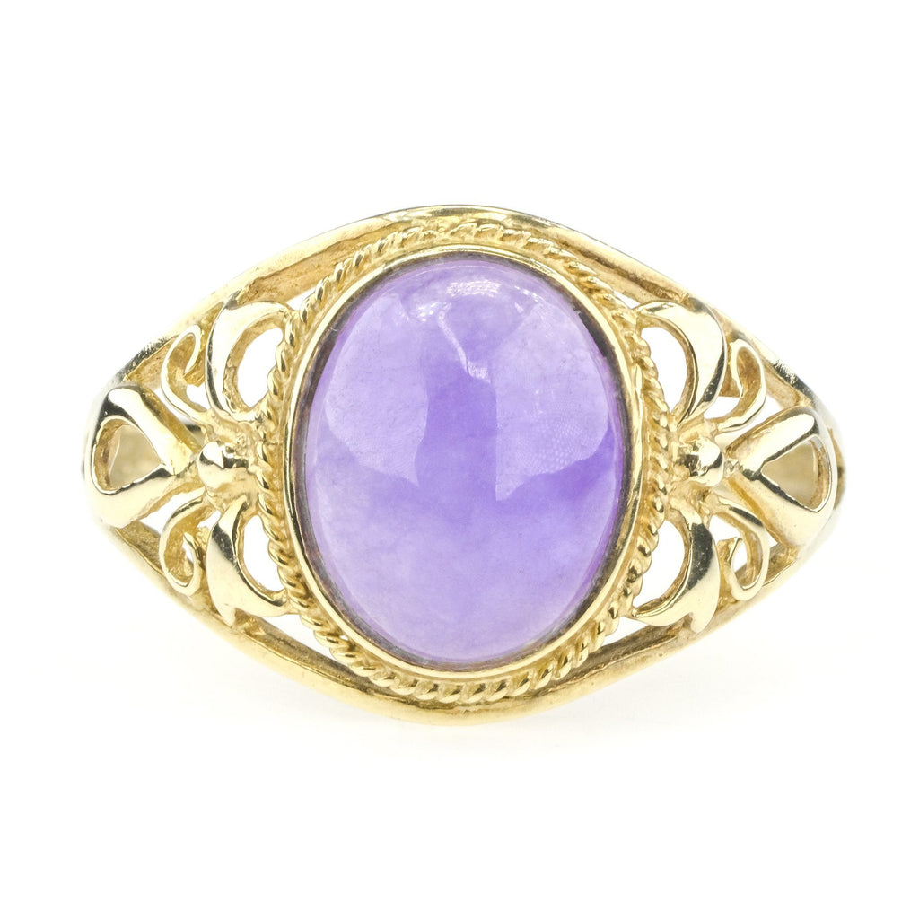 Oval Lavender Jade Side Open Work Design Gemstone Ring in 10K Yellow Gold Gemstone Rings Oaks Jewelry