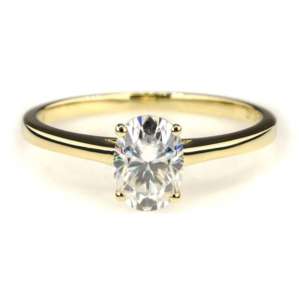 Oval Moissanite Solitaire Engagement Ring in 14K Yellow Gold Engagement Rings Oaks Jewelry