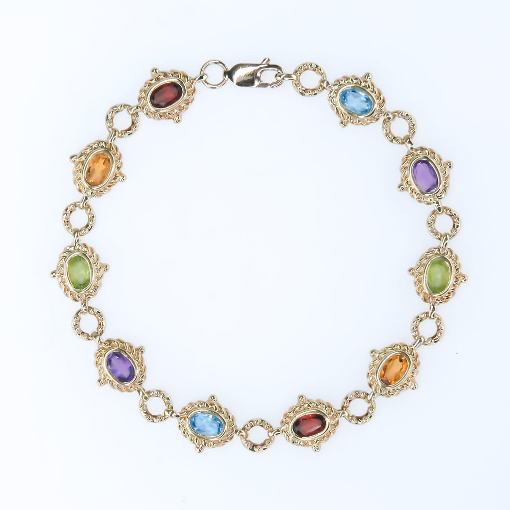 "Oval Multi Color Gemstone 7.5"" Bracelet 2.00ctw in 10K Yellow Gold Bracelets Oaks Jewelry"