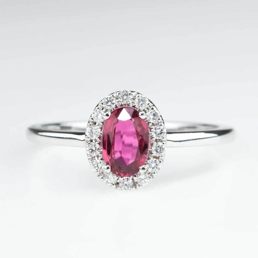 Oval Ruby with Diamond Halo Ring in 14K White Gold Gemstone Rings Oaks Jewelry