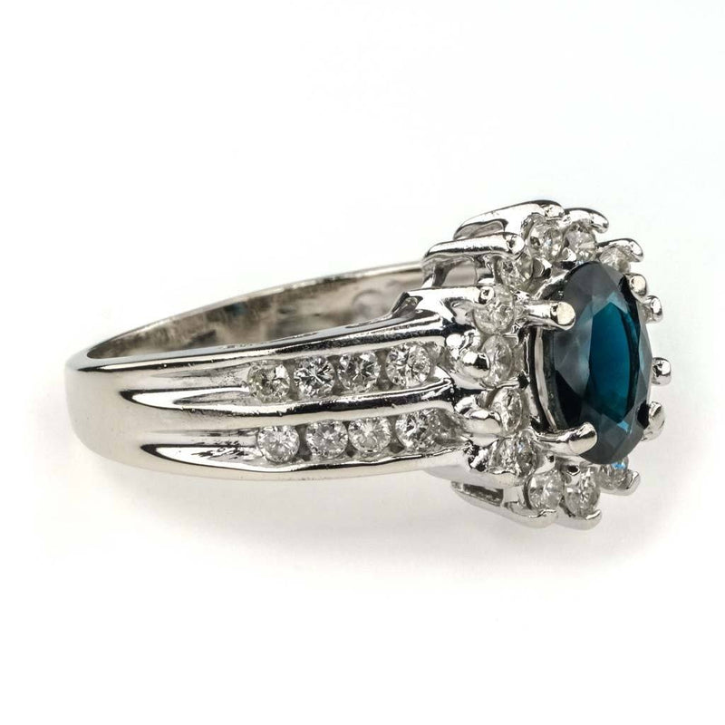 Oval Sapphire & Diamond Halo Ring 0.75ct in 14K White Gold Gemstone Rings Oaks Jewelry