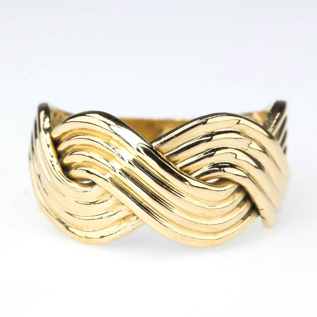 Overlapping Waves Ring in 14K Yellow Gold Metal Rings Oaks Jewelry