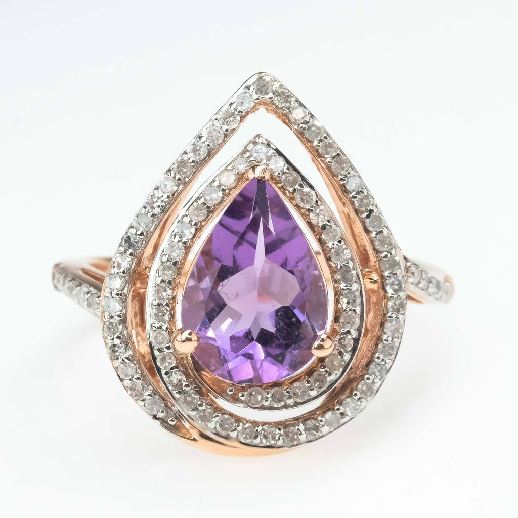 Pear Amethyst and Diamond Halo Ring in 10K Rose Gold Gemstone Rings Oaks Jewelry