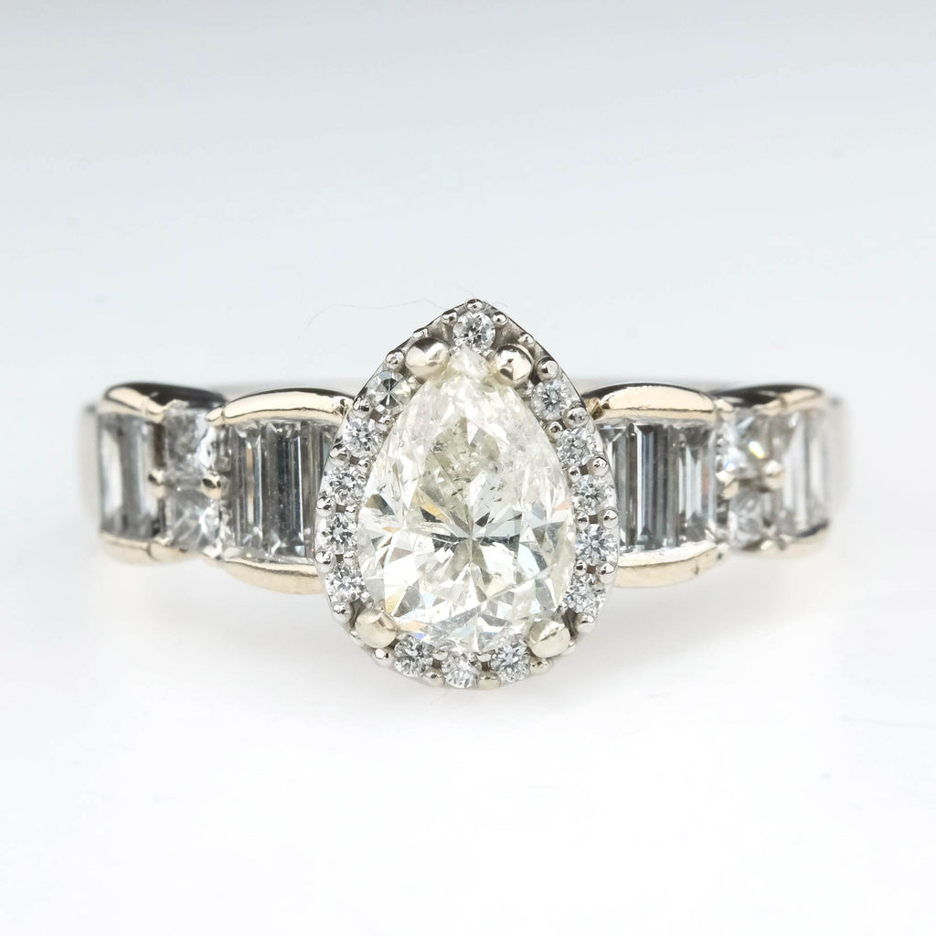 Pear Cut 1.01ct Diamond w/ Halo & Side Accents Engagement Ring in 18K White Gold Engagement Rings Oaks Jewelry