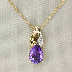 "Pear Cut Amethyst and Diamond Pendant on 18"" Chain in 10K Yellow Gold Pendants with Chains Oaks Jewelry"