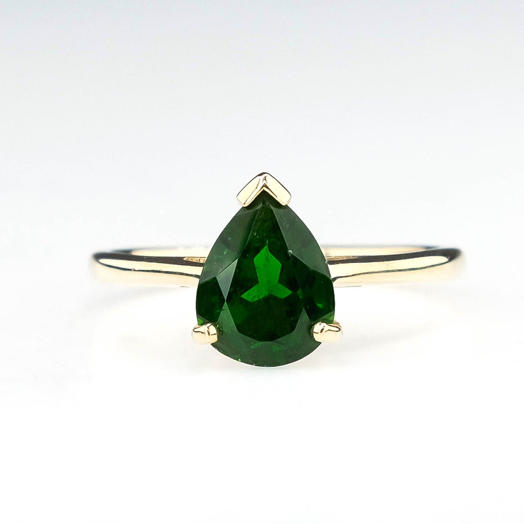 Pear Cut Green Garnet Solitaire Ring in 10K Yellow Gold Gemstone Rings Oaks Jewelry