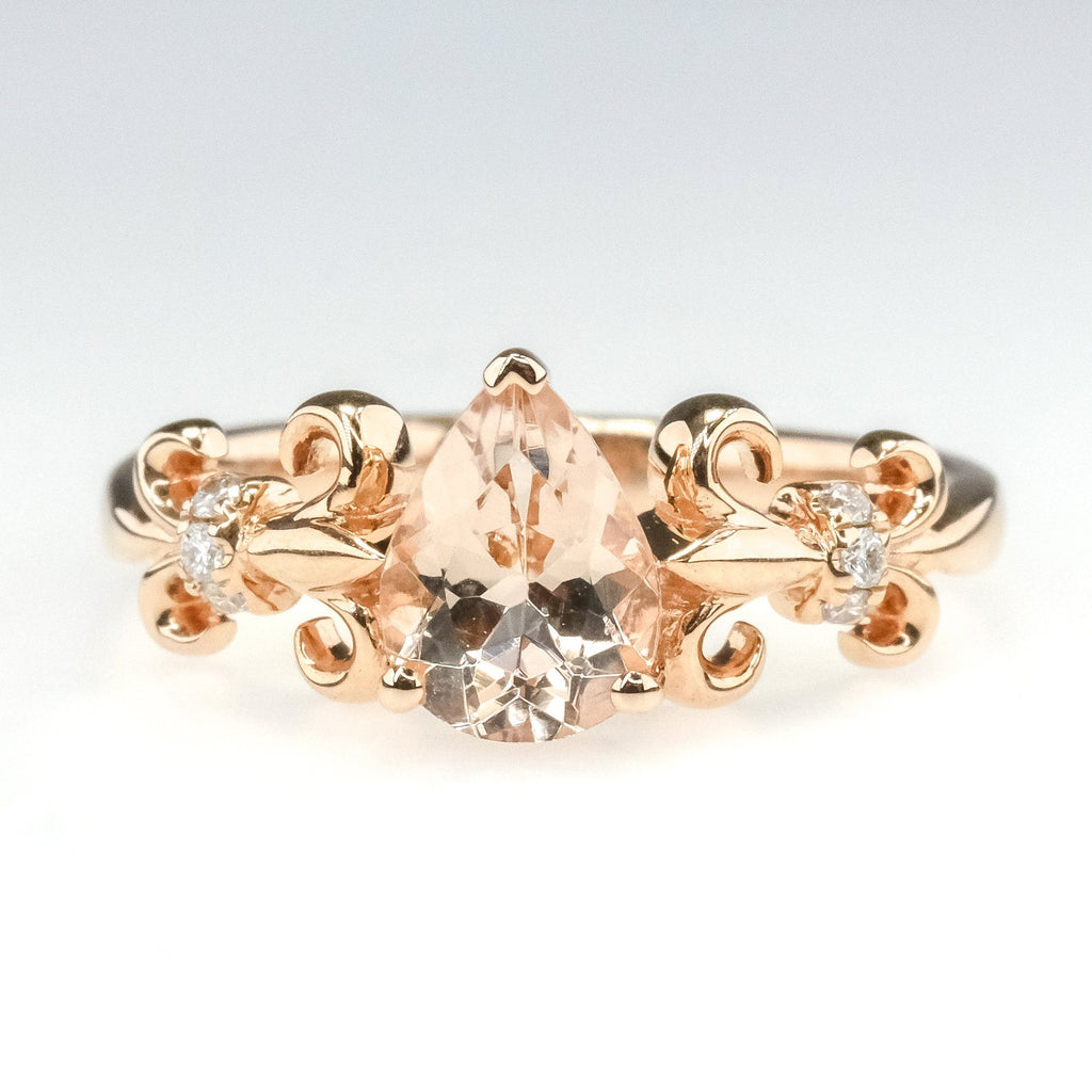 Pear Morganite & Diamond Fleur De Lis Ring in 14K Rose Gold Gemstone Rings Oaks Jewelry