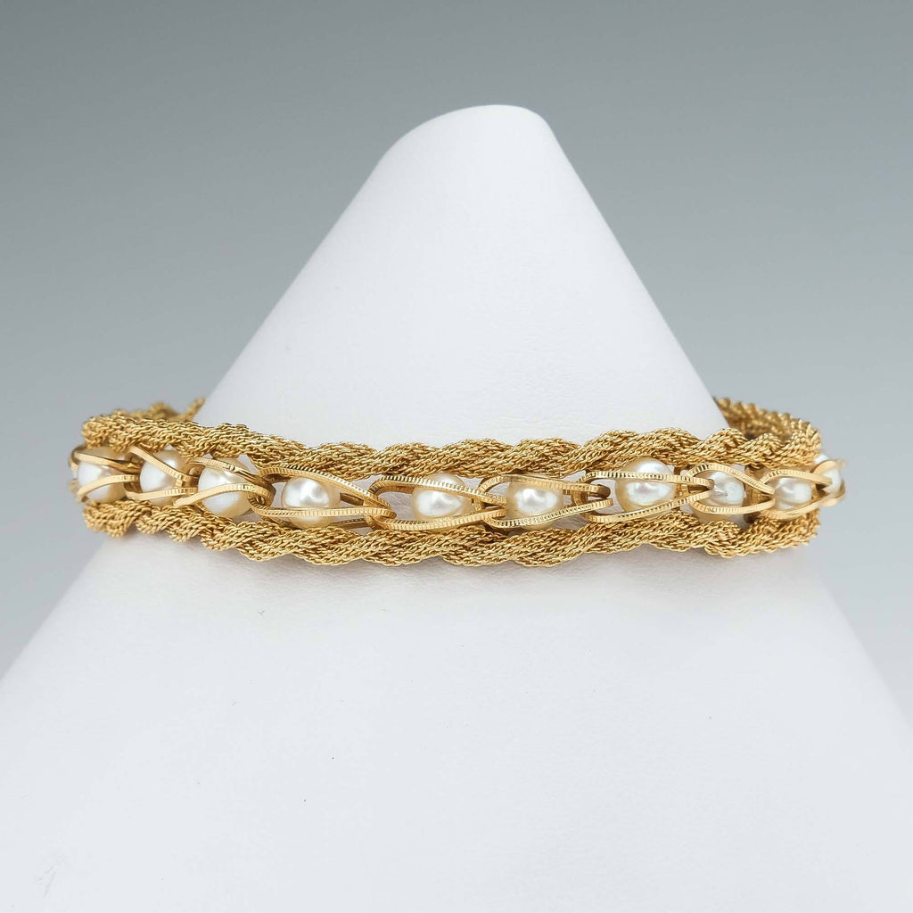 Pearl Woven Braid Bracelet in 14K Yellow Gold Bracelets Oaks Jewelry