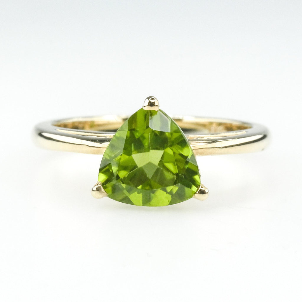 Peridot Solitaire Open Gallery & Detailed Shank Gemstone Ring in Yellow Gold Gemstone Rings Oaks Jewelry