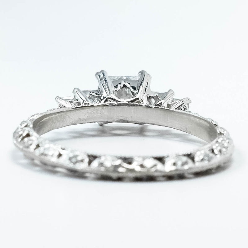 Platinum 0.50ct Princess Cut Diamond & Diamond Accented Eternity Engagement Ring Engagement Rings Oaks Jewelry