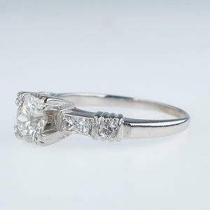 Platinum 0.68ctw Round Diamond & Side Accents Vintage Art Deco Engagement Ring Engagement Rings Oaks Jewelry