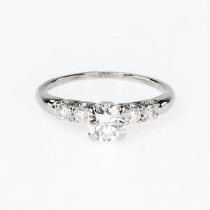 Platinum 0.75ct Round Diamond & Side Accents Vintage Engagement Ring Size 6.5 Engagement Rings Oaks Jewelry