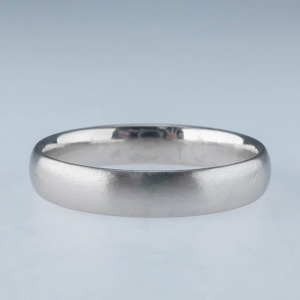 Platinum 4mm Wide Satin Finish Comfort Fit Wedding Band Ring Size 8.5 Wedding Rings Oaks Jewelry
