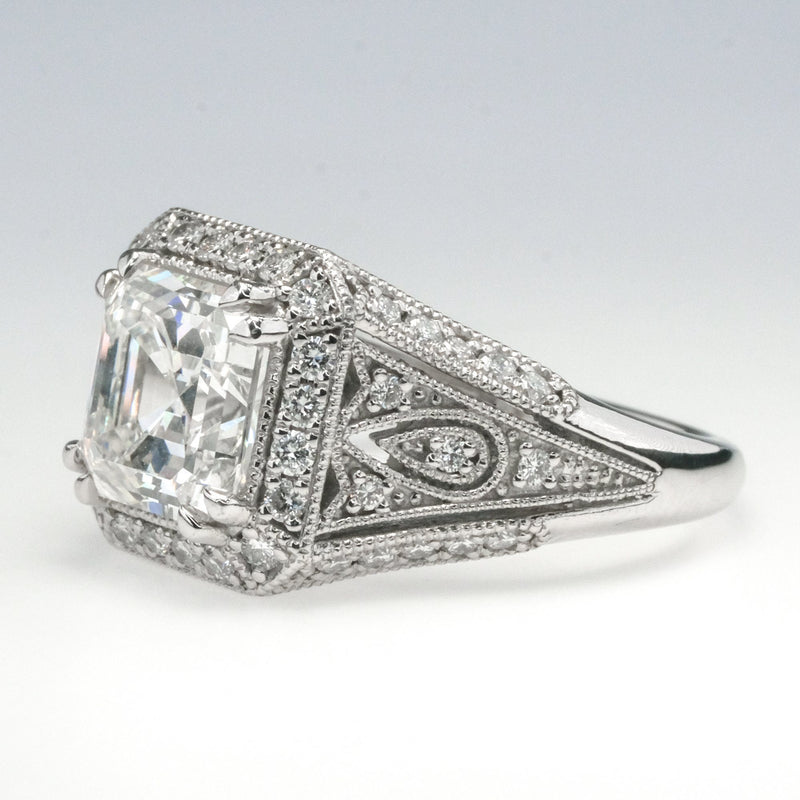 Platinum GIA 3.21ct Square Emerald Cut Diamond VVS1/H with Halo Engagement Ring Engagement Rings Oaks Jewelry