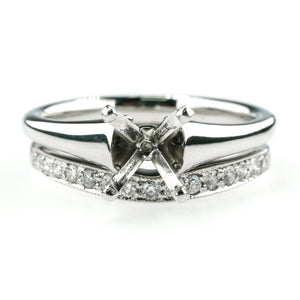 Platinum Solitaire Semi Mount & Accented Band Bridal Set Ring Size 6.75 Bridal Sets Oaks Jewelry