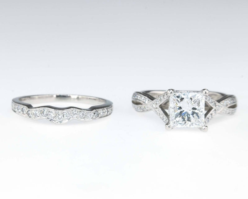 Platinum Tacori IGI 1.13ct Princess I1/H Diamond Ribbon Twist Bridal Ring Set Bridal Sets Tacori