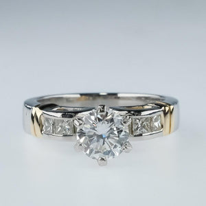 Platinum/14K Yellow Gold SI1/I 1.20ctw Diamond Open Work Engagement Ring Size 6 Engagement Rings Oaks Jewelry