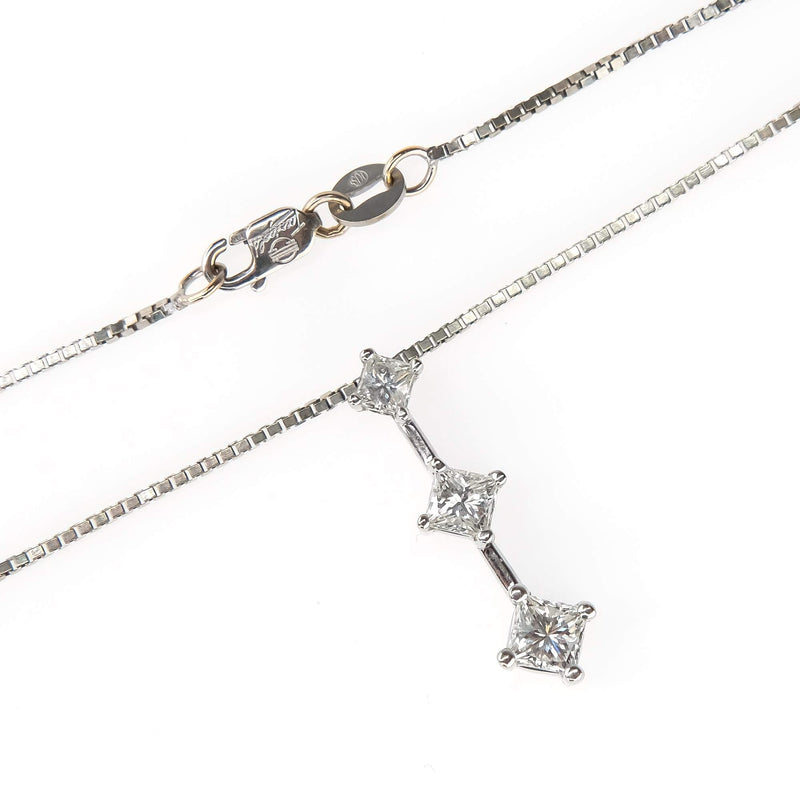"Princess Cut Diamond Journey Pendant on 18"" Box Chain in 14K White Gold Pendants with Chains Oaks Jewelry"