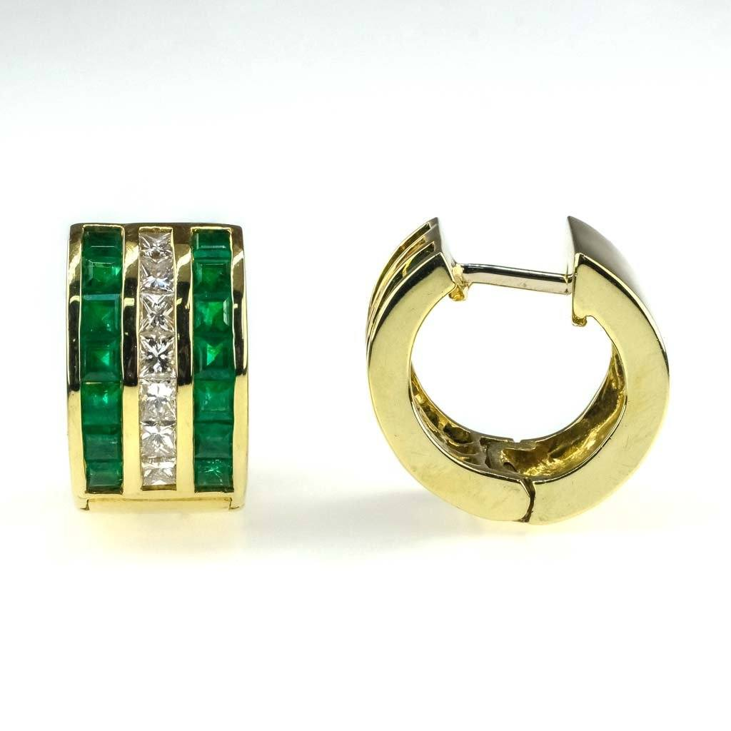 Princess Emerald & Diamond Huggie Hoop Earrings in 18K Yellow Gold Earrings Oaks Jewelry