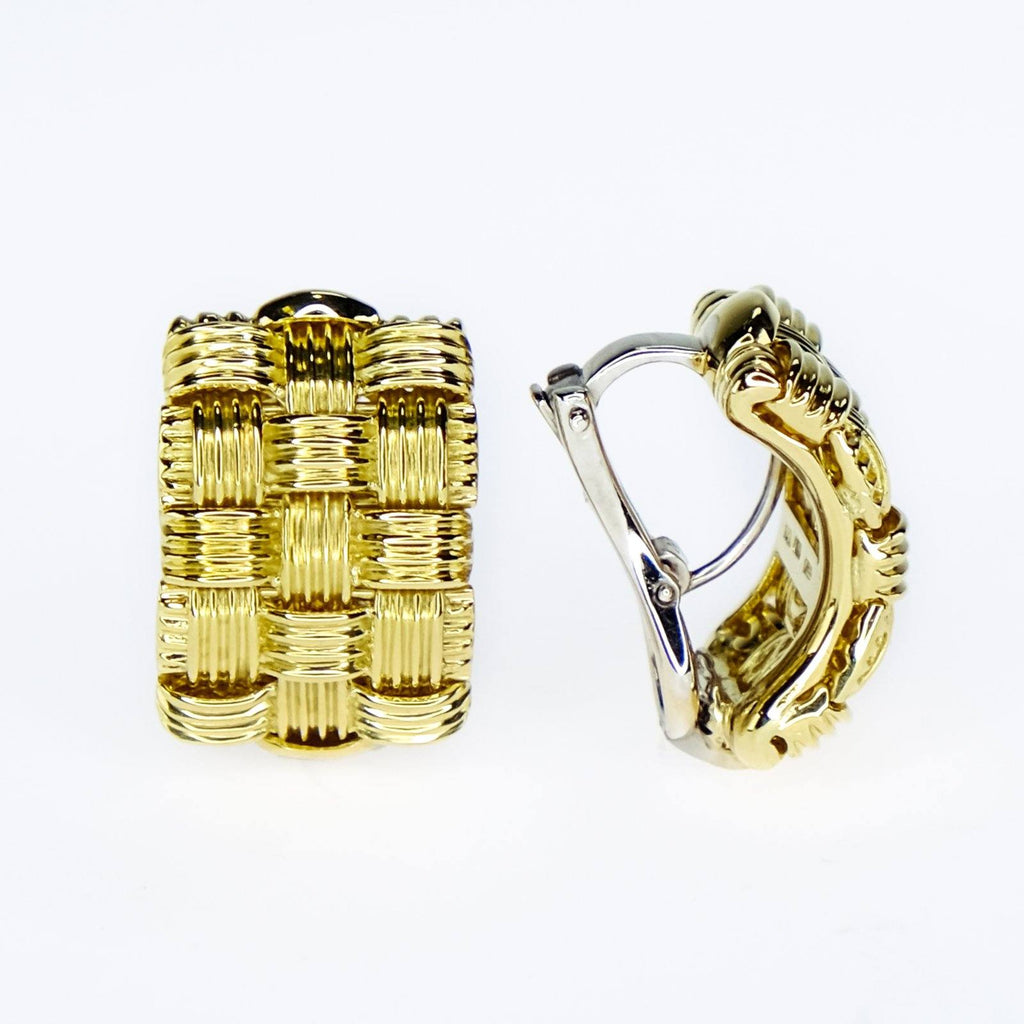 Roberto Coin Ribbed Basket Weave Earrings in 18K Yellow Gold Earrings Roberto Coin
